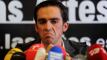 Spain's Alberto Contador speaks to the media on February 7, 2012, a day after the court of arbitration for sport handed him a two-year ban and stripped him of his 2010 Tour de France title following a positive test for clenbuterol.
