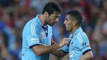 Official complaint: Sydney FC midfielder Ali Abbas (right).