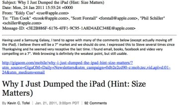 An email submitted as evidence.
