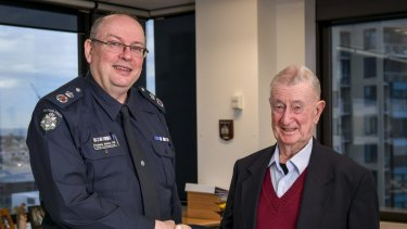 Chief Commissioner Graham Ashton with Denis Ryan.