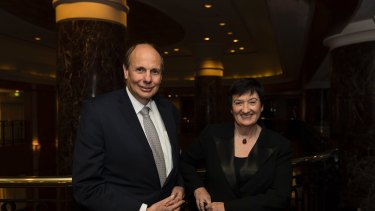 BCA president Grant King and chief executive Jennifer Westacott at the group's annual dinner.