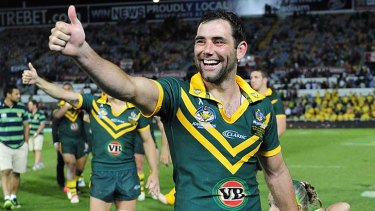 Thumbs up ... Cameron Smith acknowledges the crowd after his side's gritty win against the Kiwis.