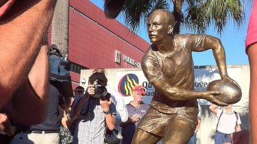 The bronze statue of Darren Lockyer that was unveiled at Suncorp Stadium this morning.