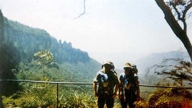 David Iredale with Phillip Chan and the Three Sisters at Katoomba in background.