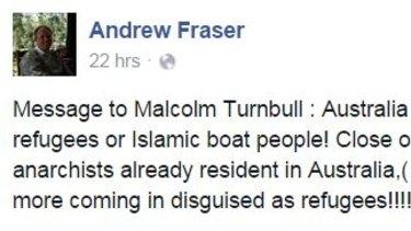 Andrew Fraser's Facebook post.