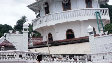 Collapsed Kubah Trienggadeng mosque following this week's earthquake in Aceh province, Indonesia.