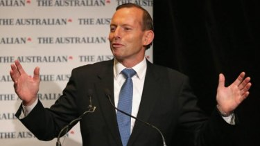 Tony Abbott delivers the keynote address at The Australian-Melbourne Institute conference.