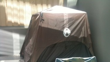 A tent on a balcony near St Kilda Road advertised for rent on Gumtree for $90 a week.