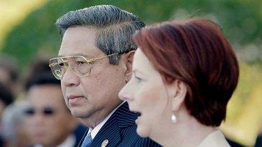Indonesian President Susilo Bambang Yudhoyono with Prime Minister Julia Gillard.
