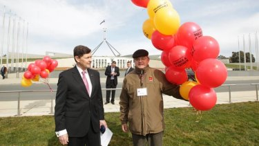 Liberal MP Kevin Andrews arrives at the National Marriage Day Rally on the front lawn of Parliament House in Canberra