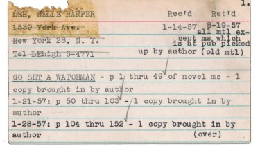Annie Laurie Williams, a literary agent to whom Lee sent sections of her first attempt at what became <i>To Kill a Mockingbird</i>, kept records on author Harper Lee's progress on <i>Go Set a Watchman</i>.