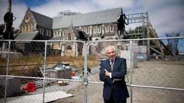 Sir Bob Parker surveys the ruins of Christchurch's landmark cathedral.