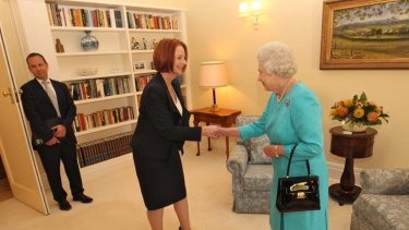 Receiving the Prime Minister at Government House.