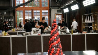 Tower of terror ... The MasterChef contestants recreate Zumbo's macarons.