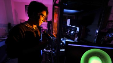 Prize pursuit: Leslie Yeo works in his laboratory at Monash University.