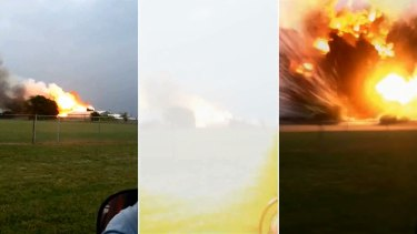 This sequence of photos, from left to right, shows the plant on fire, and then the sky going white after an explosion. The third picture shows the intense flames after the blast.