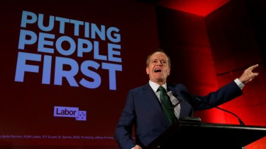 Opposition Leader Bill Shorten addresses Labor supporters during the campaign.