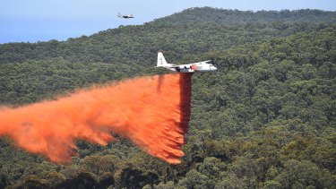 CFA's aerial campaign against the fires raging in the Otways along the Victoria's surf coast. Photos: courtesy Ned Dawson/CFA