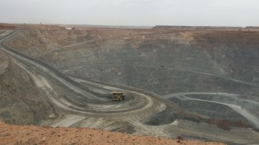 The above ground open pit copper mine at Oyu Tolgoi in Mongolia.