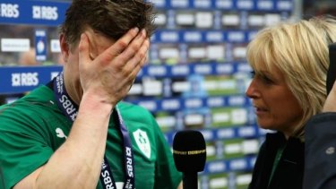 Emotional: O'Driscoll is interviewed by the BBC after the game.