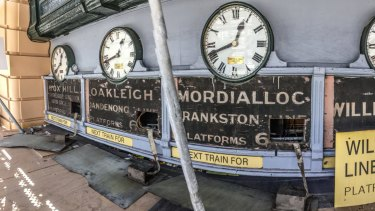 Antique signs uncovered during the restoration. Photo by Jason South