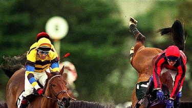 Riddell crashes from Chibuli in the 2002 Grand National Steeple.
