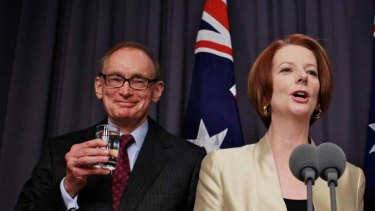The next foreign minister ... Julia Gillard announces Bob Carr's appointment to the portfolio.