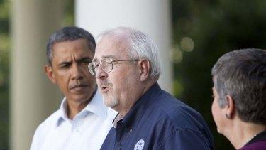 Father figures ... Barack Obama and FEMA's Craig Fugate.