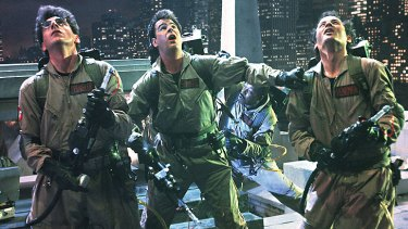 Harold Ramis, Dan Ackroyd and Bill Murray in a scene from <i>Ghostbusters</i>.