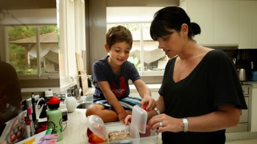 Keeping it cool ... Mairav Whitten packs a lunch for her son, who starts school tomorrow.