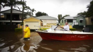Evacuation by boat in the Brisbane suburb of Milton.