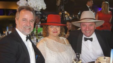 Night out: Nigel Scullion, Gina Rinehart and Barnaby Joyce at a National Agriculture Day celebration.