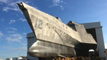 Launch of USS Omaha, one of Austal's Littoral Combat Ships built for the US Navy.