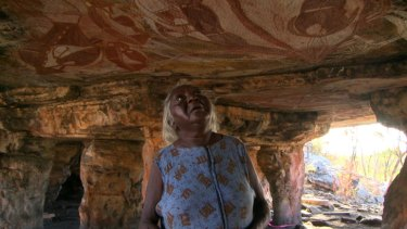 Prehistorical evidence:  Jawoyn elder Margaret Katherine at the Narwala Gabarnmang rock art site in Arnhem Land where drawings have been dated to 28,000 years ago.