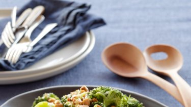 Super nutritious side dish ... broccoli with chili and toasted almonds.