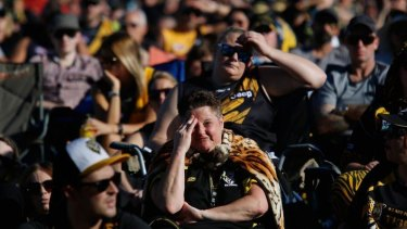 Helen Cottrell with Tigers faithful at Punt Road Oval.