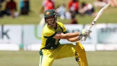 Big hit: Mitch Marsh has been in devastating form in Zimbabwe with two scores in the 80s and three consecutive sixes off Dale Steyn.