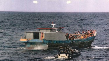 Caught up ... 53 boat people travelled to Australia in this boat, known as SIEV 229, in February.