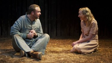 Andrey Henry (left) as Lennie and Anna Houston as Curley's wife make an outstanding stage partnership in <i>Of Mice and Men</i>.