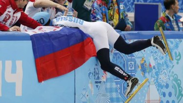 Record breaking: 500m short track champion Russia's Victor Ahn.