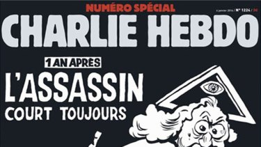 The cover of Charlie Hebdo, the French satirical publication, to mark the first anniversary of the attacks on 7 January 2015 at its offices in which 12 people were killed.