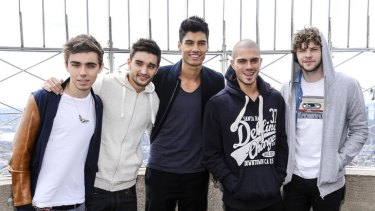 British boy band The Wanted, from left, Nathan Sykes, Tom Parker, Siva Kaneswaran, Max George and Jay McGuiness visit the Empire State Building in New York.