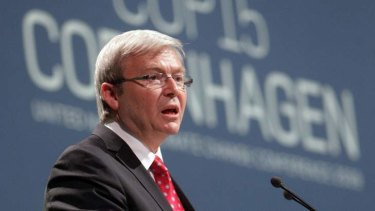 Former prime minister Kevin Rudd speaks during the United Nations Climate Change Conference 2009 in Copenhagen.