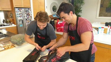 Tough night over the stoves ... <i>My Kitchen Rules</i> contestants Harry and Christo.
