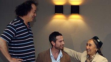 MIFF director Richard Moore with filmmaker Jeff Daniels and Uighur businesswoman Rebiya Kadeer promote the film in Melbourne.