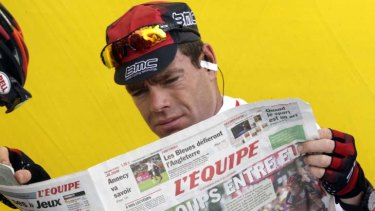 L'Equipe it coming ... it's not in the bag until you read about it in the paper. Cadel Evans confirms he beat Alberto Contador in the Tour's fourth stage.