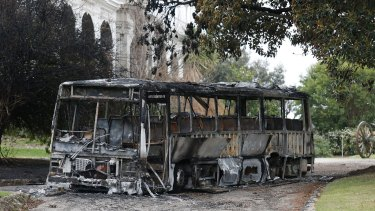 An arson attack at Salesian College resulted in a burned out bus as well as fire damage to parts of the school building, on August 10, 2014 in Sunbury, Australia.