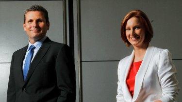 <i>7.30</i> presenters Chris Uhlmann (left) and Leigh Sales.</i>.