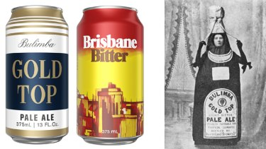 The re-released cans of Bulimba Gold Top and Brisbane Bitter; and a 1900 advertisement for Bulimba Gold Top.