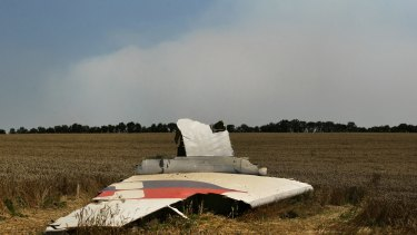 A portion of MH17 lies in a field in Ukraine last year. Investigators have reconstructed the nose of the plane.